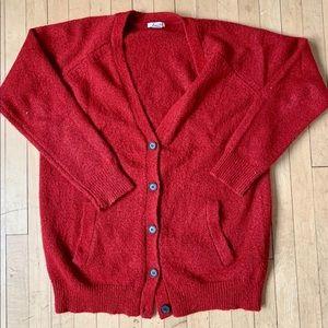 Fuzzy Red Cardigan